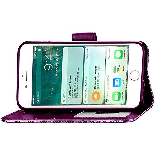 iPhone 7 Plus Coque, Apple iPhone 7 Plus Coque, Lifeturt [ Rose ] Motif Pure Couleur Housse en Cuir Case à Avec La Fonction Stand Coque de Intérieure Protection Souple Coque Portefeuille TPU Silicone  E2-Violet