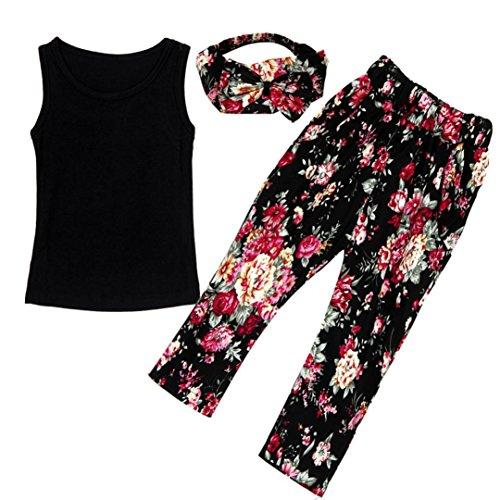 ❥Elecenty 3PCS Mädchen Kleidung Set ,Sommer Junge Outfit Set Ärmellos Weste T-Shirt Tops Hemd+ Blumenmuster Lange Hose+Stirnband Bekleidungssets Girl Mode Tägliche Kleidung Pullover (130, Schwarz)