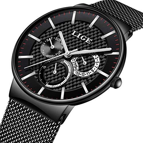 f96034f111de Reloj de Hombre Los Deportes Reloj Analógico de Cuarzo Marca Impermeable  LIGE la Moda Reloj Fecha
