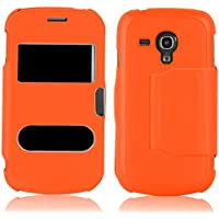 JAMMYLIZARD | Fenster Flip Case Hülle für Samsung Galaxy S3 Mini, ORANGE