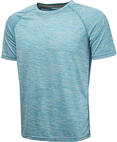 KomPrexx Herren Sport T Shirt Fitness Funktion Training Running Tennis Sportshirt Männer Funktionsshirt Kurzarm (SkyBlue,L)