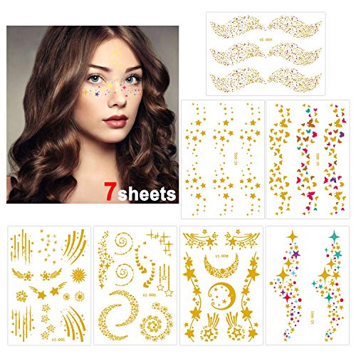 Konsait 7 Blätter Metallic temporäre Tattoos gesicht, Tätowierung Aufkleber Wasserdicht Tattoo Flash Goldener Temporäre Tattoos Sticker klebe tattoos für Frauen Mädchen