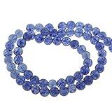 Perlin - 45stk. Blau Quarz Wassermelone Edelstein Perlen 8mm Rund Edelsteine Halbedelstein Schmuckstein Schmuckperlen Bastelperlen G770 x3