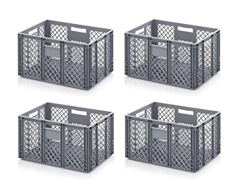 Preisvergleich Produktbild 4x Bäckerkiste Cateringbox 60 x 40 x 32 durchbrochen inkl. gratis Zollstock 4er Set