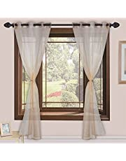 Homefab India Sheer Strips 2 Piece Polyester Curtain Set - 7ft