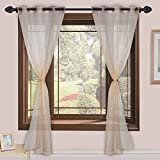 Homefab India Sheer Strips 2 Piece Polyester Curtain Set - 7ft, Beige