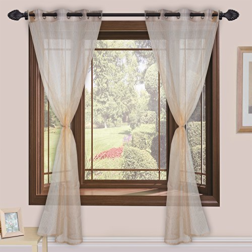 Homefab India Set of 2 Tissue Beige Transparent Curtains