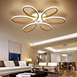 Henley LED-Deckenleuchte Modern 75W LED Lampen 6 Ring Deckenbeleuchtung Deckenstrahler Wohnzimmer Schlafzimmer Kreativ Lampe Acryl Weiß Deckenlampe für Flur Innenbeleuchtung Design Leuchte Ø58CM , warmweißes
