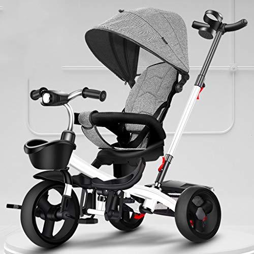Jixi Das Dreirad der Kinder, das tragbaren Kinderfahrrad-Wagen mit Pedal-justierbarer Laufkatzen-Drehsitz-Speicher-Rahmen-Markise faltet (Color : Gray)
