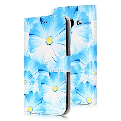 Samsung Galaxy J3 Custoida in Pelle Portafoglio,Samsung Galaxy J3 2016 Cover Pu Wallet,KunyFond Lusso Moda Marmo Dipinto Leather Flip Protective Cover con Bella Modello Cover Ultra Slim Folio Bookstyl orchidea