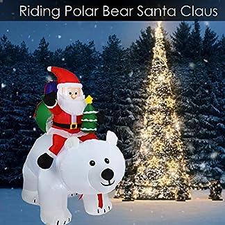 Ploufer Oso Polar Inflable de Navidad – 12V-2M Papá Noel Que Monta la muñeca Inflable del Oso Polar para la decoración del jardín casero