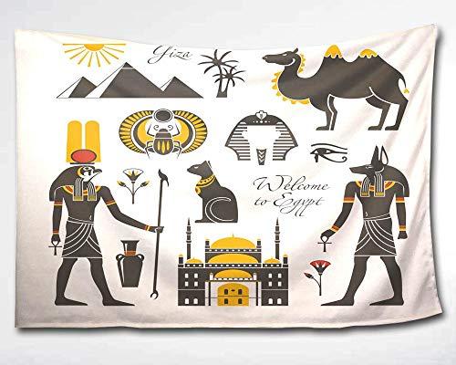 HMWR Wandbehang mit afrikanischem ?gypten,Gott Anubis Pharao,antiker indischer Taj Mahal,Ethno-Stil,Rom-Pyramide, Kamel,Collage, Dorm, Strand, Wanddekoration, 152,4 x 228,6 cm, Wei? / Grau,60x40(in) -