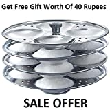 #9: Vikruti Stainless Steel 4 Plates Idli Stand/Idli Maker(Get Free Gift Worth of 40 Rupees)