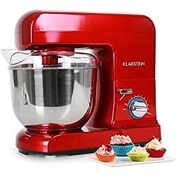 Klarstein Gracia Rossa - Robot de cuisine , Mélangeur , Pétrin , 1000 W , 1,3 CV , 5 L , Système d'agitation planétaire , 10 vitesses , bol en acier inoxydable , Système de desserrage rapide , rouge