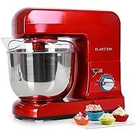 Klarstein Gracia Rossa • Robot de cocina • Batidora • Amasadora • 1000 W • 5 L • 1,3 PS • Batido planetario • 10 niveles de velocidad • Recipiente de acero inoxidable • Varillas de metal • Rojo