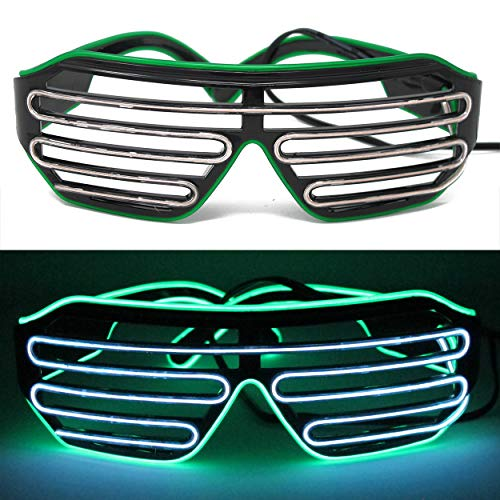 ifancy LED Shutter Shade Brille - Leuchtbrille Bicolor Sonnenbrille Partybrille - Konzert Disco Malle Silvester Karneval Rave Club & Co. Rotze - Rave Motto Party Kostüm