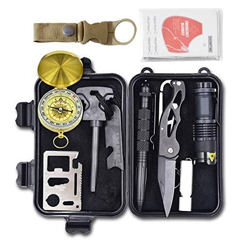 Thesurvivalkit- Kit di Sopravvivenza Militare Multiuso e Professionale -di Emergenza- 13 in 1 Completo - Portatile da Zaino per l'aperto