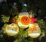 ONEGenug 3pcs Decorazione natalizia Sfera luminosa a LED Decorazioni per l'albero di Natale Babbo Natale / Pupazzo di neve / Renne