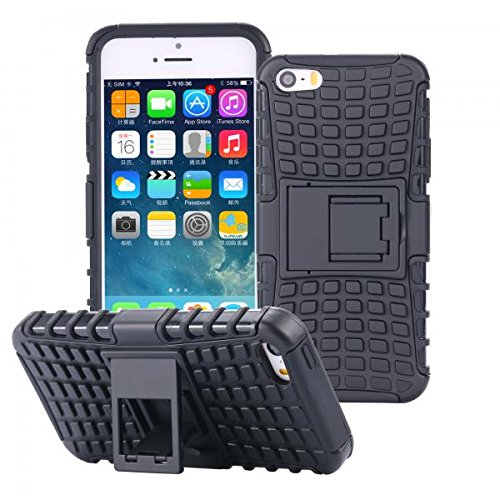 ECENCE APPLE IPHONE SE / 5 5S OUTDOOR PANZER RUGGED SCHUTZ HÜLLE HANDY TASCHE SILIKON CASE HYBRID BUMPER COVER ETUI 21040304 Schwarz