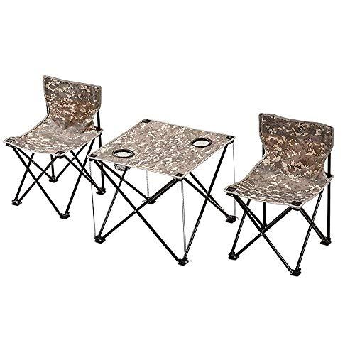 Lcxligang Outdoor Klapptisch Und Stuhl Set, 3-Pack Leichte Stativ Camping Stuhl Mit Rücken, Rucksack 1 Tisch 2 Stühle