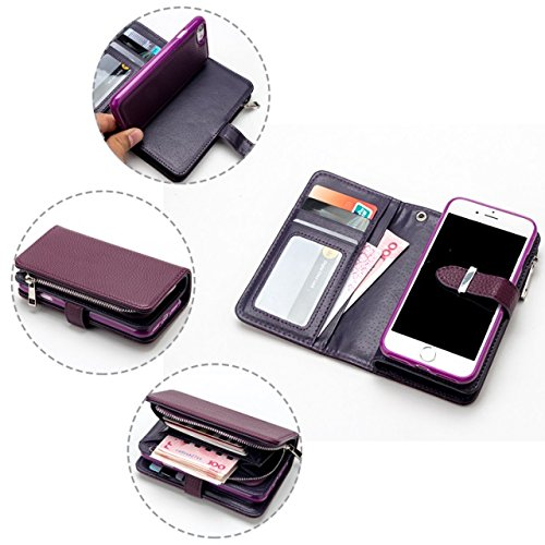 Solid Color Litchi Skin PU Leder Magnetic Closure Pattern Schutzhülle mit Card Slots & Zipper Pouch & Abnehmbare Rückseite für iPhone 7 Plus ( Color : Rose ) Purple