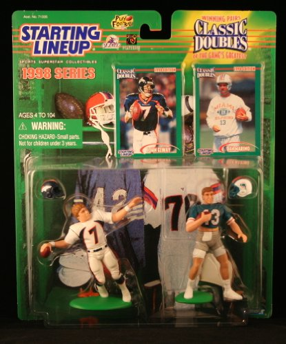 JOHN ELWAY / DENVER BRONCOS & DAN MARINO / MIAMI DOLPHINS 1998 NFL Classic Doubles * Winning Pairs * Starting Lineup Action Figures & Exclusive Collector Trading Cards Broncos Football Cards