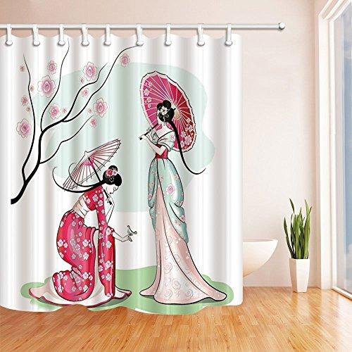 nyngei 3D Digital Druck Japanische Dusche Vorhang Frauen in Kimono unter Cherry treemildew Polyester-beständig-Badezimmer Dekoration Bad Vorhänge Haken enthalten 179,8x 179,8cm - Runde Druck-vorhang Rod