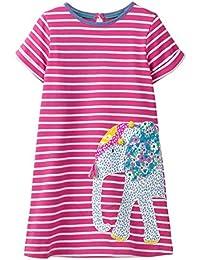 335e0b446dc56b VIKITA Mädchen Baumwolle Langarm Streifen Tiere T-Shirt Kleid 1-6 Jahre
