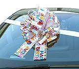 Große Auto-Schleife (40,6 cm) + 6 Meter Band für Autos, Fahrräder, große Geburtstags- und Weihnachtsgeschenke – Happy Birthday