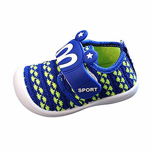 Dorical Unisex Baby Quietsche Schuhe Hasenohren Squeaky Krabbelschuhe für Jungen und Mädchen, Cartoon Anti-Rutsch-Schuhe Soft Sole Lauflernschuhe Sneakers Größe 6-36 Monate(Blau,21 EU)