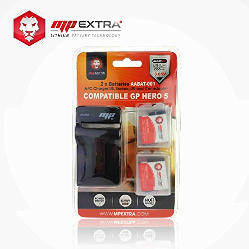 Pack 2 x batterie + chargeur pour gopro hero 5 - batterie MP EXTRA® pour GoPro hero 5