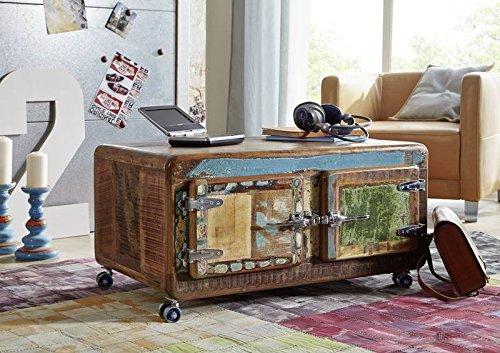 Table basse avec roulettes 90x60cm - Bois massif recyclé laqué (Multicolore) - Inspiration Ethnique - FREEZY #20