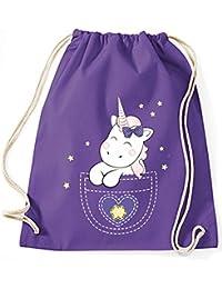 Bolsa de yute Bolsa De Gimnasio Bolsas De Deporte Bolsa de tela Bolsa de algodón con cordel Gymsack Kangarooh Bolsa de cuerno Unicornio Unicornio cutie Bolsillo