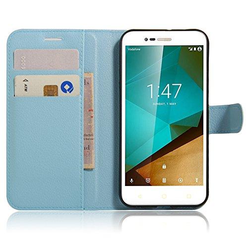 JARNING Vodafone Smart Prime 7/ Style 7 /VFD600 Fundas de PU Cuero Flip Leather Wallet Case Cover Carcasa Funda con Ranura de Tarjeta Cierre Magnético Kikstand -Azul