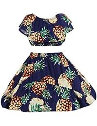 Conjuntos Para Bebé NiñAs DRESS Start® Camiseta Tops Linda Impresión De PiñA Sin Hombro NiñA Princesa Fiesta + Falda Tutu Ropa Bebé NiñAs…
