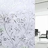 EASEHOME Vinilo Ventana Autoadhesiva Pegatina de Ventana Cristal Película Decorativa Papel Adhesivo Láminas Electrostatica Film Estática Opaco 7.7'x78.7'(45x200cm), Flor de Tulipán