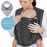 Makimaja - Fascia porta bebè grigio scuro con stelle - tracolla di alta qualità per neonati e bambini fino a 15 kg - cotone leggero - include una borsa portaoggetti e un bavaglino