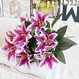 LuckyGirls 10Köpfe Kunstblumen Künstliche Lilien Silk Blumen Brautstrauß Hochzeit Party Decor Garten Dekoration DIY (B)