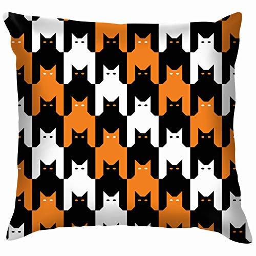 Nicegift Cats Tooth Halloween Repeats Ly Dogtooth Holidays Soft Cotton Linen Cushion Cover Pillowcases Throw Pillow Decor Pillow Case Home Decor 18X18 Inch (Clip Halloween Black Cat Art)