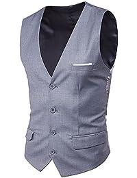 Mxssi Hombres Blazer Chaleco Moda Casual Traje Chaleco Trabajo Hombres Outwear Escudo Solo Breasted Hombres Chaleco QZz4SC69o