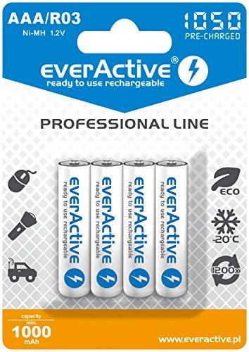 everActive Akku AAA 1000 mAh 4 Stück, NI-MH, Micro R03, wiederaufladbar, vorgeladen, höchster Leistung, Professional Line 1.2V, 1 Blisterkarte