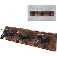 País rústico diseño antiguo grifo montado en la pared de hierro y madera perchero de pared de 3ganchos ropa, toallas, sombrero percha rack