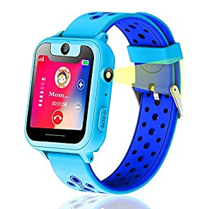 BhdLovely Kids GPS Smart Watch, Tracker Smart Watch Phone with 2 Way Calls, SOS Emergency Alarm, LBS Location, Pedometer,Watch Alarm Clock,Voice Chat, Anti-lost Alarm, Night Flashlight Support Iphone,Android for Boys Girls