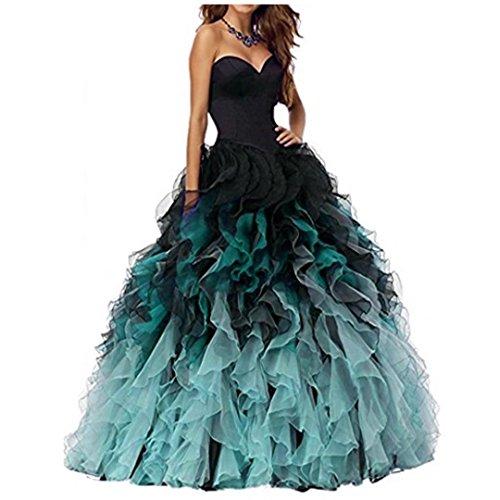 NUOJIA A Linie Herzausschnitt Quinceanera Kleid mit Rüschen Lang Prinzessin Ballkleid Festkleid Schwarz und Aqua 42 - Quinceanera Kleider Kleider