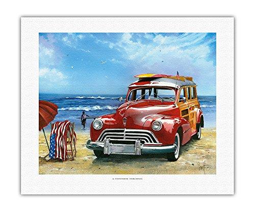 Pacifica Island Art - Surfin' USA - Retro Woodie mit Surfbrettern am Strand - Gemälde von Scott Westmoreland - Leinwand Kunstdruck - 41 x 51 cm