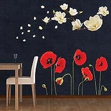 """Walplus pared pegatinas """"Magnolia con de flores de amapolas extraíble adhesivo decorativo para murales nursery restaurante Cafe Hotel Edificio oficina decoración del hogar"""