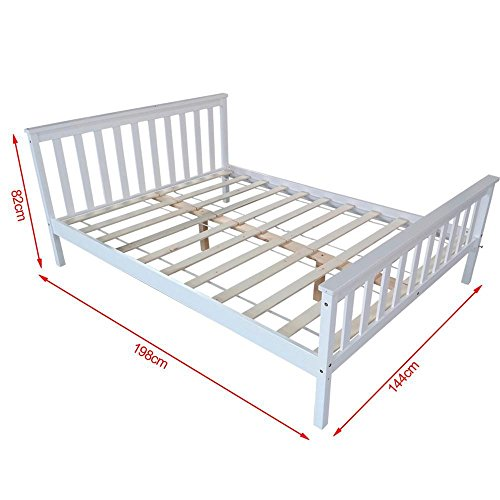 White Double Bed Pine Wood Frame 4ft6 Wooden Bed Frames Double