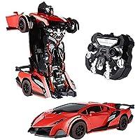 SainSmart Jr. RC Cars Trasformation Robotor Car Toy RC Veicoli 2.4 Ghz Robot Toy Auto, telecomando ad alta velocità con trasformazione a un pulsante e 361 Speed Drifting (rosso)
