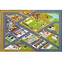 Kev & Cooper Playtime Collection Country Farm Road Map With Construction Site Educational Learning Area Rug