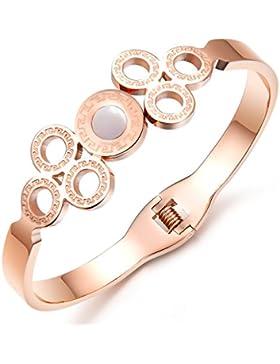 bigshopDE Edelstahl roségold Muschel Armreif Armband Design Schmuck für Damen Mädchen